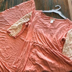 Coral boutique maxi with lace detail size large